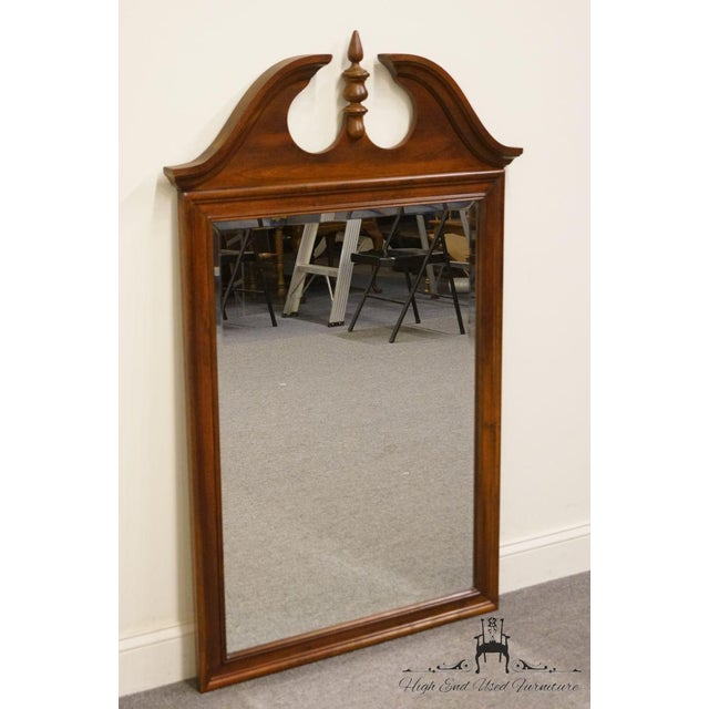 Traditional Crescent Solid Cherry Pediment Top Wall Mirror For Sale - Image 3 of 6