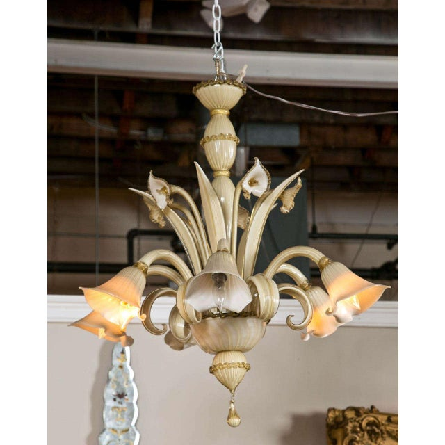 A beautiful Italian Murano 6-light chandelier, in gorgeous beige and gold hand blown glass, some glass parts having gold...