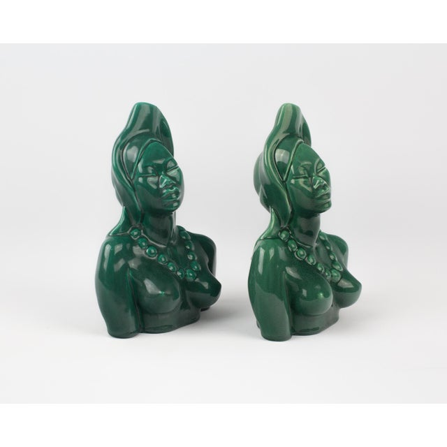 Green ceramic woman bust figure/statue. Pair of 2. Color is a deep emerald/ malachite green color. Circa 1950's - 1960's...
