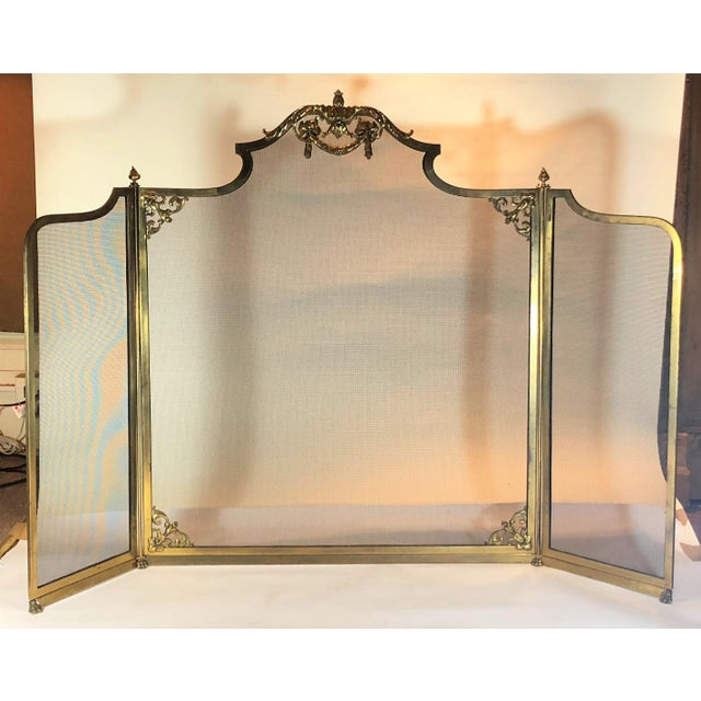 Traditional Antique Bronze Folding Firescreen, Circa 1900. For Sale - Image 3 of 3