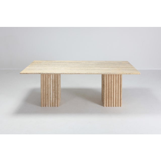 Travertine Dining Table in the Style of Carlo Scarpa and Angelo Mangiarotti For Sale - Image 9 of 11