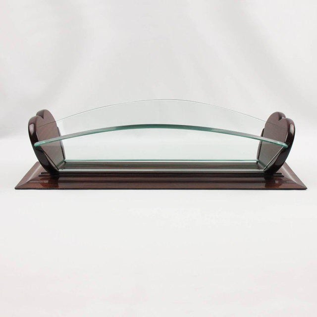 1930s Art Deco Rosewood and Glass Long Centerpiece Bowl Decorative Basket For Sale In Atlanta - Image 6 of 9
