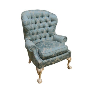 Century Tufted Blue & White Ball & Claw Wing Chair