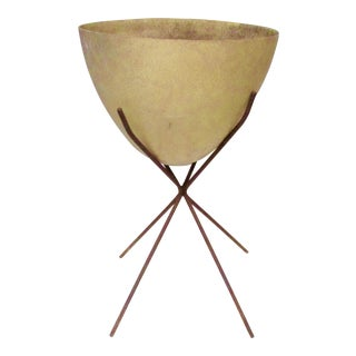 Large Mid-Century Atomic Fiberglass Kimball Bullet Planter and Stand For Sale