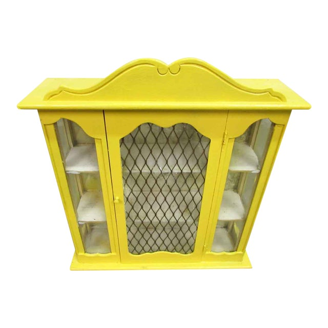 Yellow Painted Curio Cabinet For Sale
