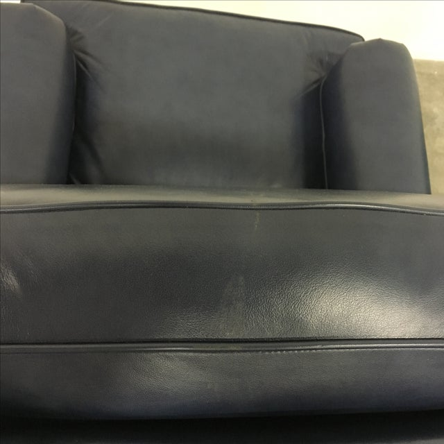 Navy Blue Swivel Recliner by Leathercraft - Image 10 of 10