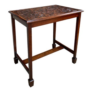 Antique French Carved Oak Side Table Spade Foot Louis XVI Style For Sale