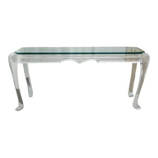 Mid-Century Lucite and Glass Console For Sale