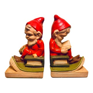 Figurative Plaster Gnome Bookends - a Pair For Sale