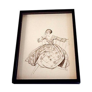 Mid-Century Fashion Drawing For Sale
