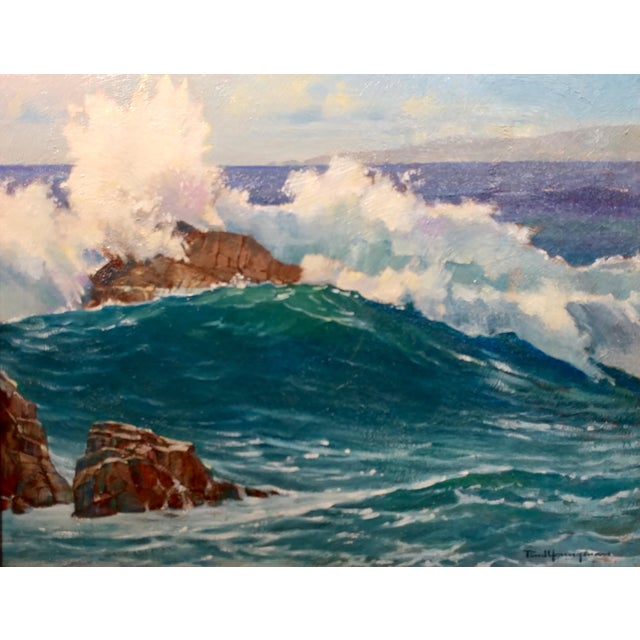 "Nautical Paul Youngman ""Pacific Grove California Seascape"" Original Oil Painting For Sale - Image 3 of 10"