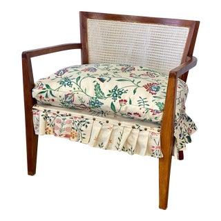 Mid Century Modern Walnut Caned Birdseye Chair For Sale