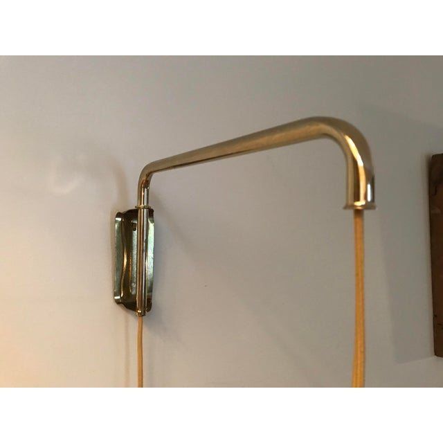 Metal Brass Mid-Century Wall Lamp For Sale - Image 7 of 10