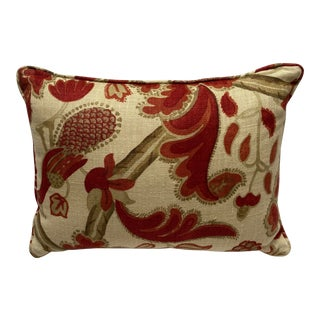 Lee Jofa Bloomsbury Red/Gold Fabric Lumbar Throw Pillow For Sale