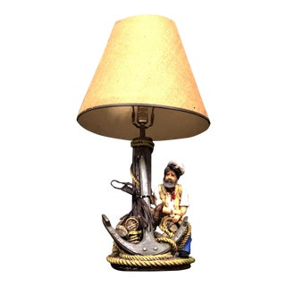 Apsit Brothers of California Sailor and Jim Beam Chalk Table Lamp For Sale