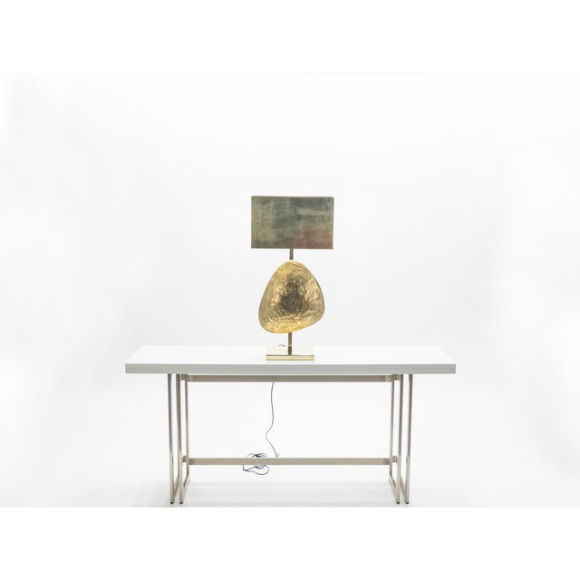 1970s Large Belgian Willy Daro Table Lamp in Brass and Bronze, 1970s For Sale - Image 5 of 13