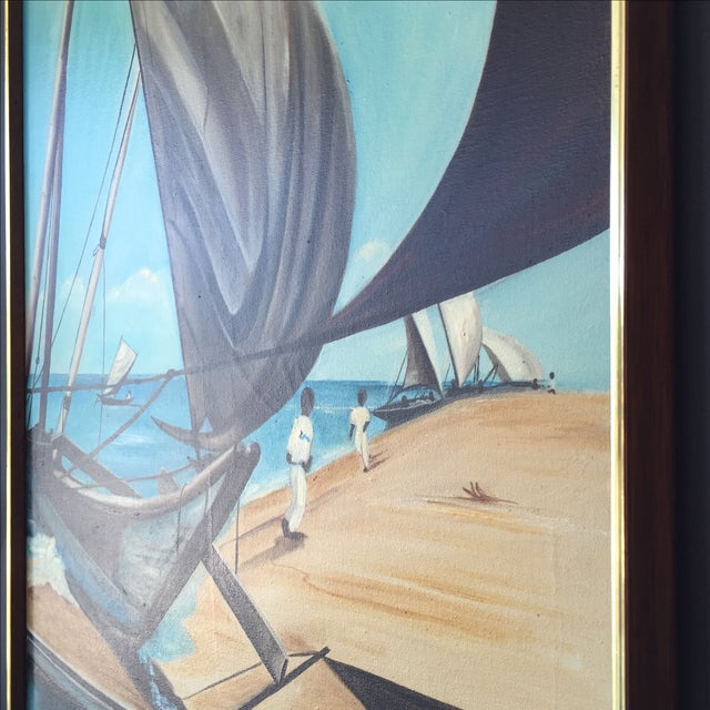 Nautical 1973 Nautical Oil Painting by Walt Walker For Sale - Image 3 of 9