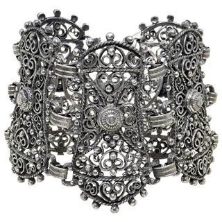 1940s Jeray Estruscan-Revival Silvertone LInk Bracelet For Sale
