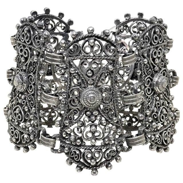 1940s Jeray Estruscan-Revival Silvertone LInk Bracelet For Sale