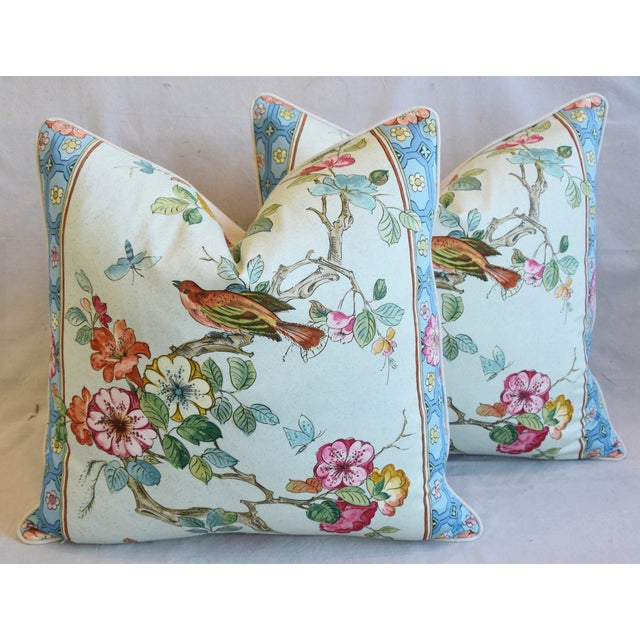 "Blue English Chinoiserie Floral & Birds Feather/Down Pillows 24"" Square - Pair For Sale - Image 8 of 12"