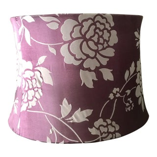 Amethyst / Purple and Grey Bell Shaped Floral Soft Textile Lampshade