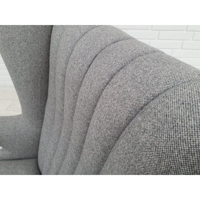 "Light Gray 1970s Danish Design, ""Teddy Bear"" Chair by Svend Skipper, Completely Reupholstered For Sale - Image 8 of 13"