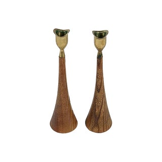 Mid-Century Wood and Brass Candlestick Pair For Sale