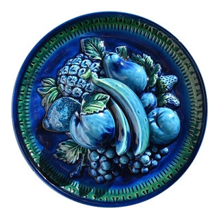 Majolica Trompe L'Oeil Ceramic Fruit Plate in Blue Mood Indigo by Inarco Japan For Sale