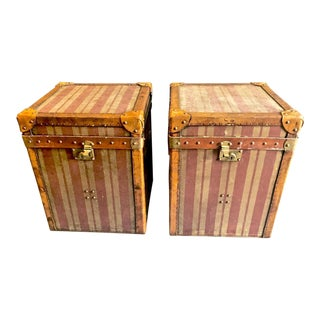 French Canvas and Leather Hat Trunks - a Pair For Sale