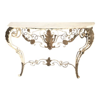 Mid 20th Century Antique French Marble Top Console For Sale