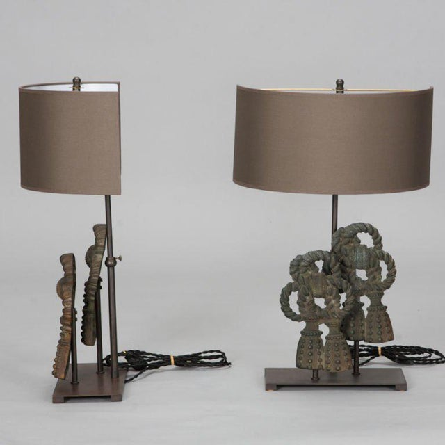 Belgian Pair Custom Designed Iron Bow Lamps For Sale - Image 3 of 5