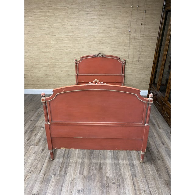 Antique French Louis XVI Style Twin Bed For Sale - Image 9 of 11