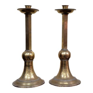Pair of 19th Century Hammered Brass Candlesticks C.1880s For Sale