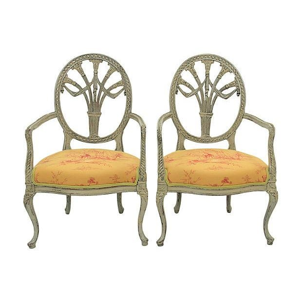 Antique Yellow Fauteuil Chairs - A Pair - Image 1 of 7
