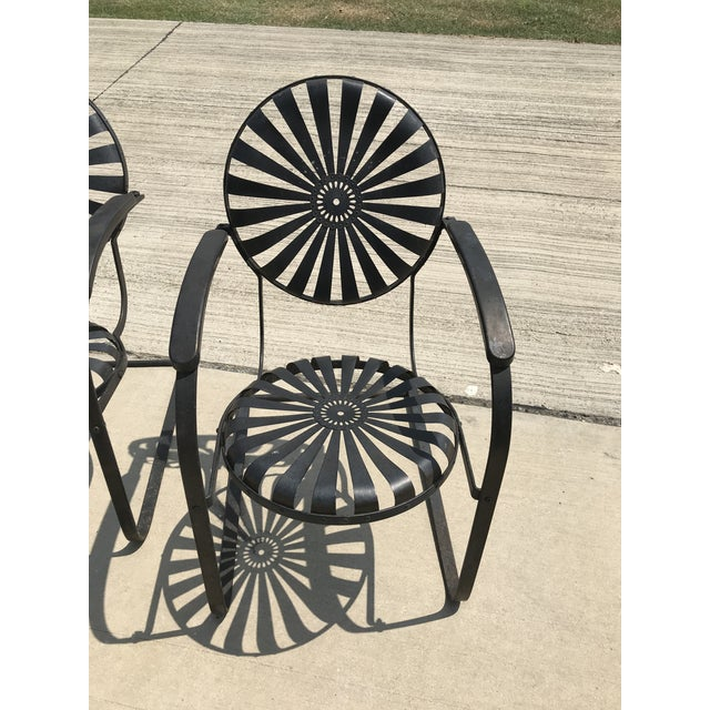 Francois Carre French Sunburst Garden Chairs Circa 1930 - Set of 4 For Sale In Dallas - Image 6 of 11