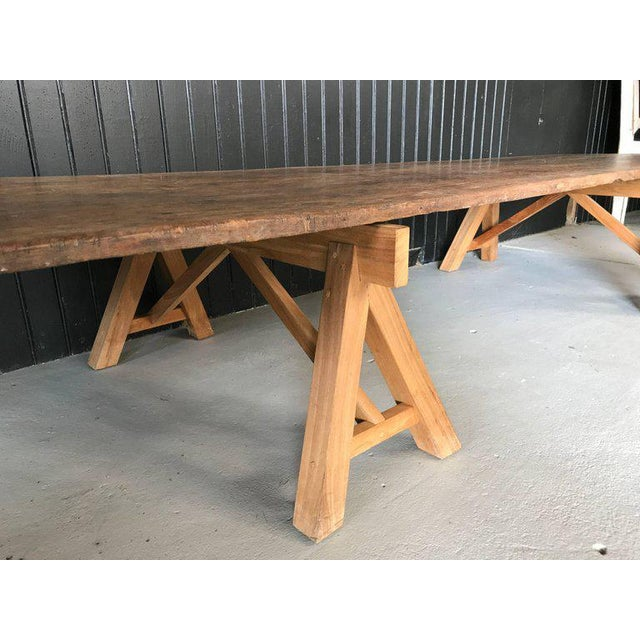 Primitive Sawhorse Cocktail Table with Reclaimed Wood Top For Sale - Image 3 of 4