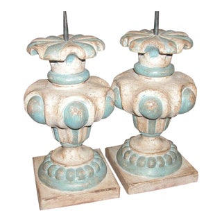 Italian White and Blue Urn Lamp Bases Pair For Sale