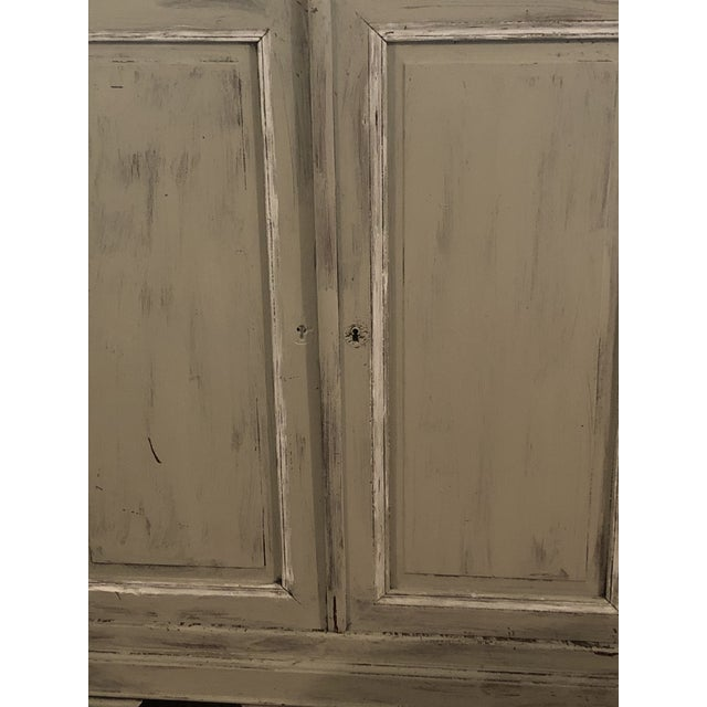 French Country Light Gray Sideboard With Double Doors For Sale - Image 3 of 11