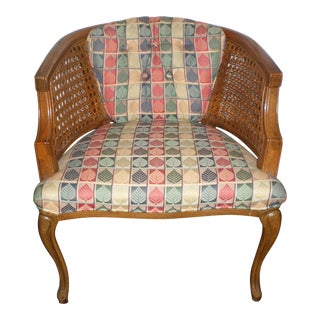 1960s Mid Century Modern French Louis XV Style Fruitwood & Cane Back Chair For Sale