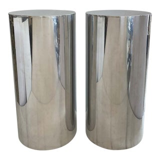 "33"" Drum Pedestals Stainless Steel by Paul Mayen for Habitat - a Pair For Sale"