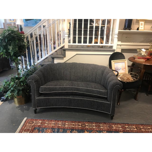 Charcoal Antique Mahogany Edwardian Settee For Sale - Image 8 of 8