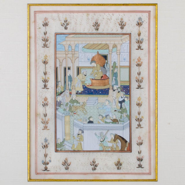 Mughal School Painting on Silk - A Pair For Sale - Image 4 of 7