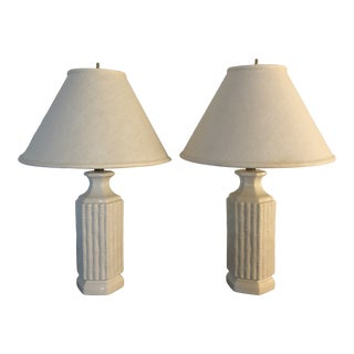 Vintage 1980's Ceramic Faux Bamboo Lamps With Shades - a Pair For Sale