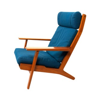 Paddle Arm High Back Lounge Chair by Hans Wegner For Sale