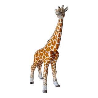 Vintage Hollywood Regency Italian Porcelain Hand-Painted Glazed Giraffe: Wayne Huizinga Estate For Sale