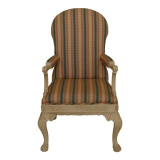 Georgian Style Painted Finish Upholstered Open Armchair For Sale