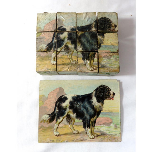 Brown Antique Childs Wood Block Puzzle Set For Sale - Image 8 of 13