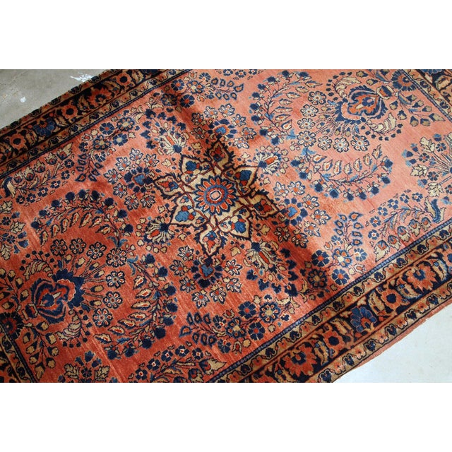 1920s 1920s, Handmade Antique Persian Sarouk Rug 3.3' X 5.5' For Sale - Image 5 of 9