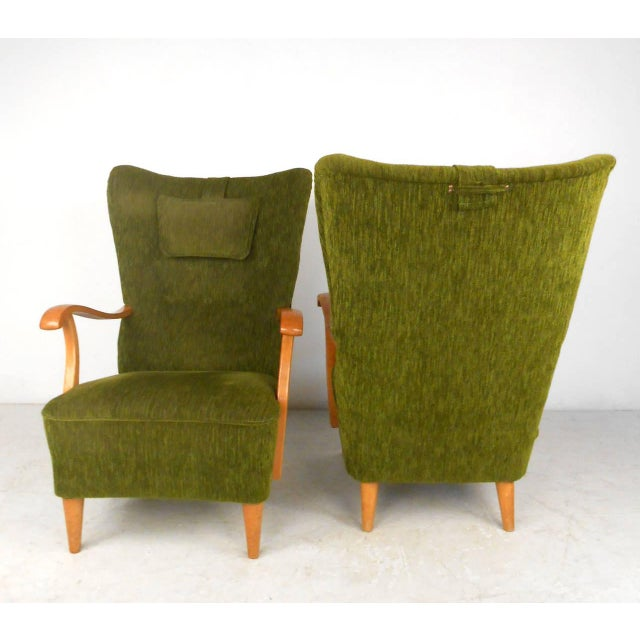 1960s Mid-Century Modern High Back Lounge Chairs - A Pair For Sale - Image 5 of 11