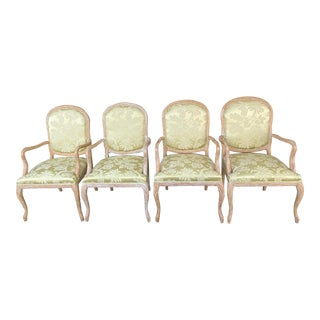 Chateau d'Ax Botanical Print Arm Chairs - Set of 4 For Sale